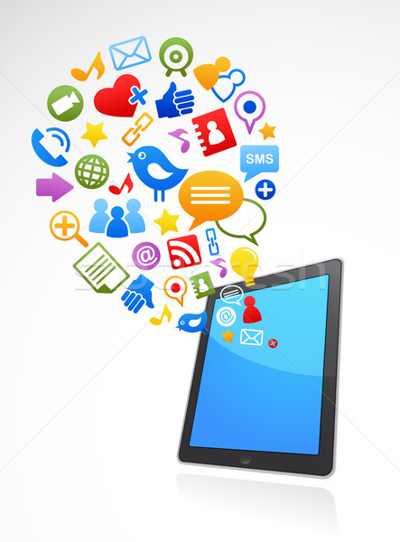 vector smart phone social media icons Stock photo © marish