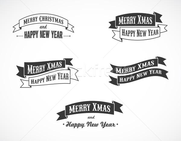 Retro Christmas background ribbons with text Stock photo © marish