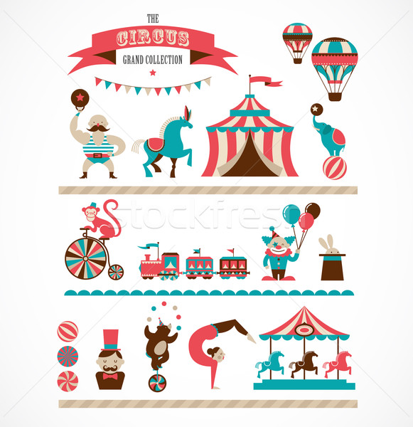 Stock photo: vintage huge circus collection with carnival, fun fair, vector icons and background