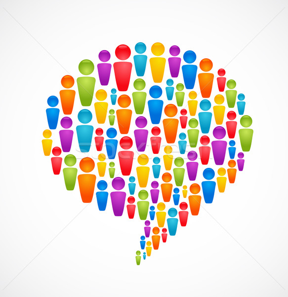 speech bubble with many abstract people Stock photo © marish