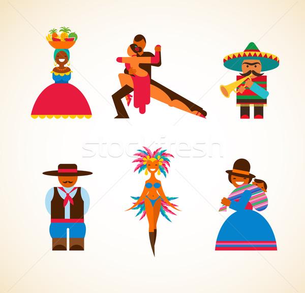Mensen illustratie traditioneel vrouw kaart Stockfoto © marish