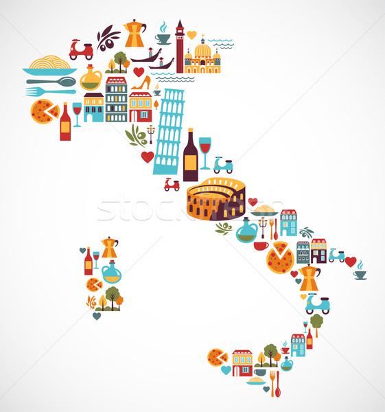 Stockfoto: Italië · kaart · vector · iconen · communie · voedsel