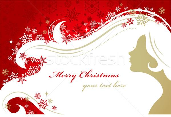 Foto stock: Navidad · rojo · mujer · silueta · patrón