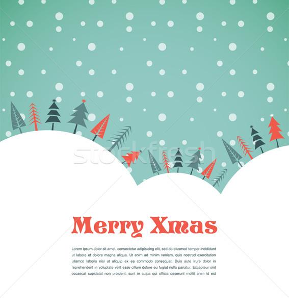 Photo stock: Noël · maisons · oiseaux · noël · vecteur · arbres