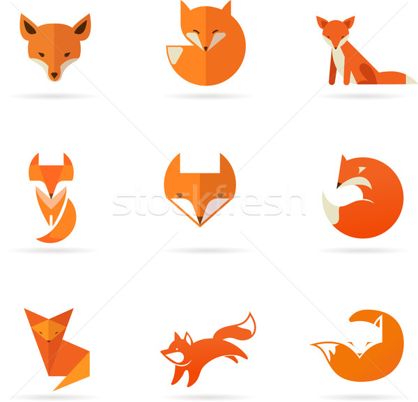 Fox иконки Элементы признаков коллекция Сток-фото © marish