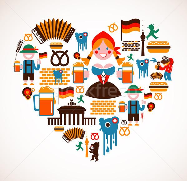Szív alak Németország ikonok gyűjtemény zene étel Stock fotó © marish