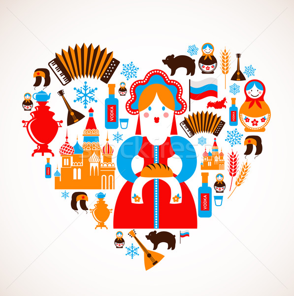 Stock photo: Russia love - heart with vector icons