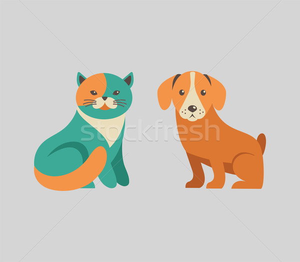 Stockfoto: Collectie · kat · hond · vector · iconen · illustraties