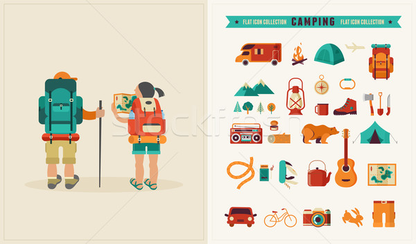 Vector vintage poster with couple of backpackers and set of icons Stock photo © marish