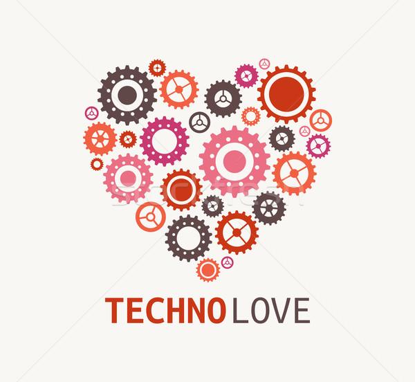 Technology blue heart with cogweels Stock photo © marish