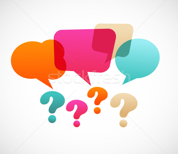 Stock photo: question mark with speech bubles