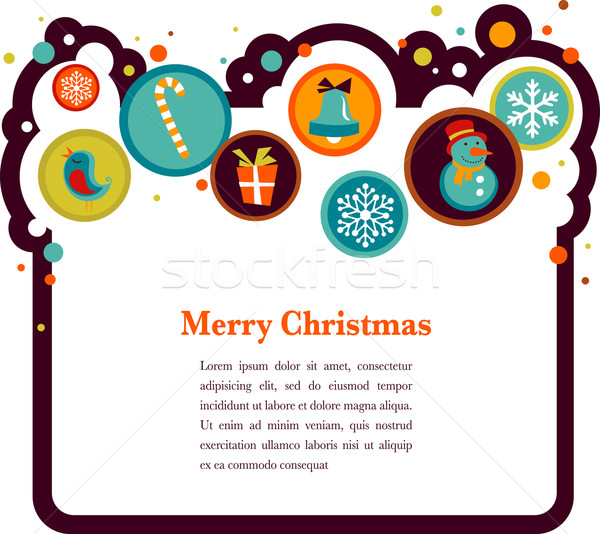 Christmas background with cute icons Stock photo © marish