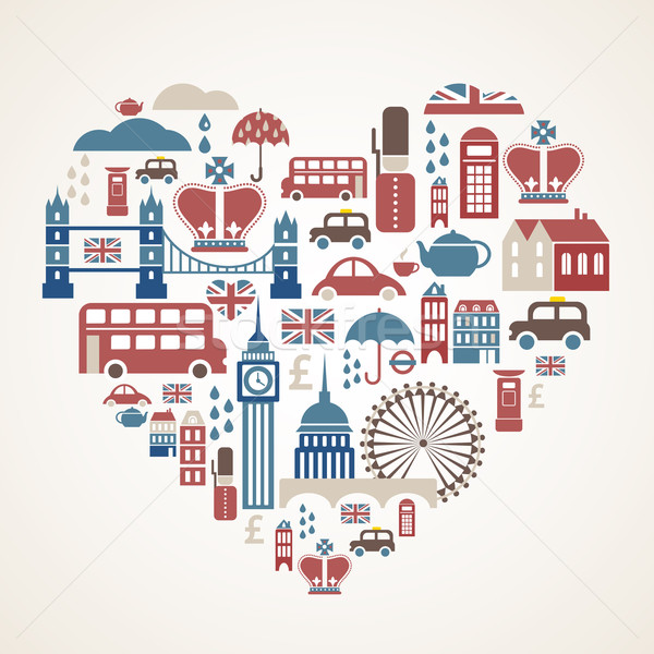 London love - heart with many vector icons Stock photo © marish