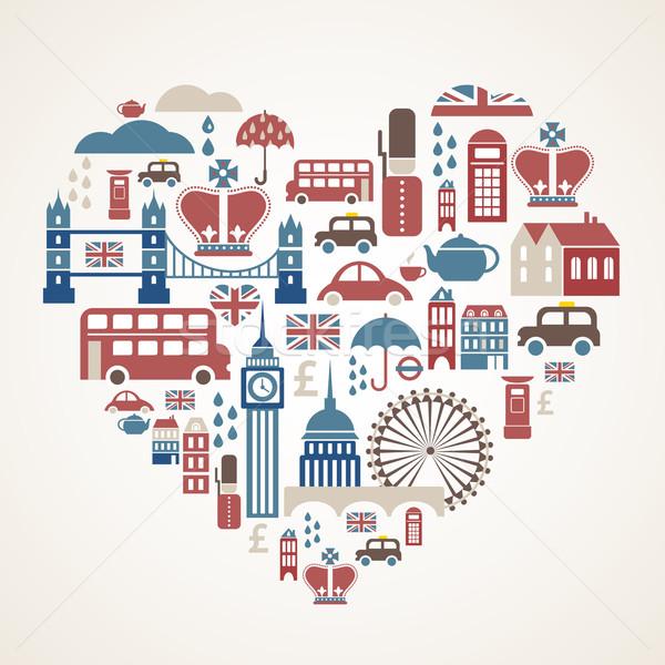 Londra sevmek kalp çok vektör simgeler Stok fotoğraf © marish