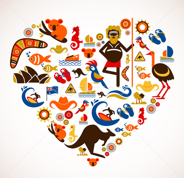Australia love - heart with set of vector icons Stock photo © marish