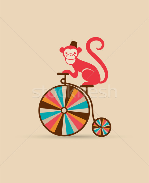 vintage poster with monkey on unicycle, fun fair, circus vector background  Stock photo © marish