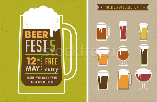 Foto stock: Cerveja · festival · vintage · cartaz · negócio · comida