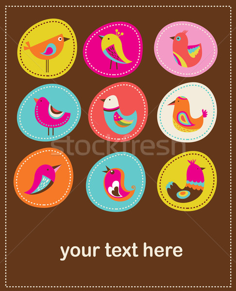 collection of cute decorative birds, greeting card Stock photo © marish