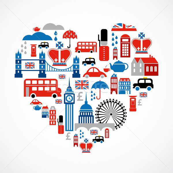 Stock photo: London love - heart with many vector icons