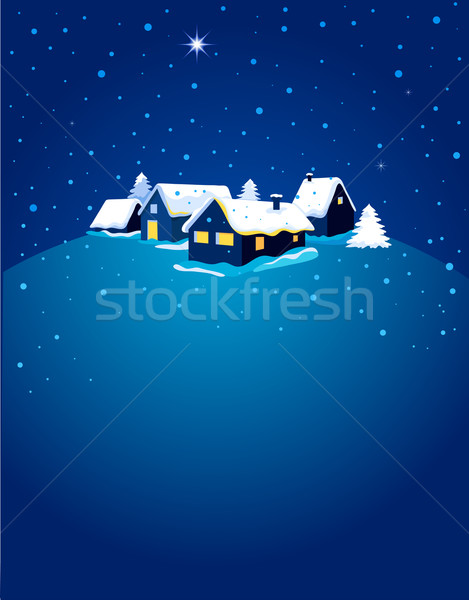 Stock photo: Christmas card with night town and snow