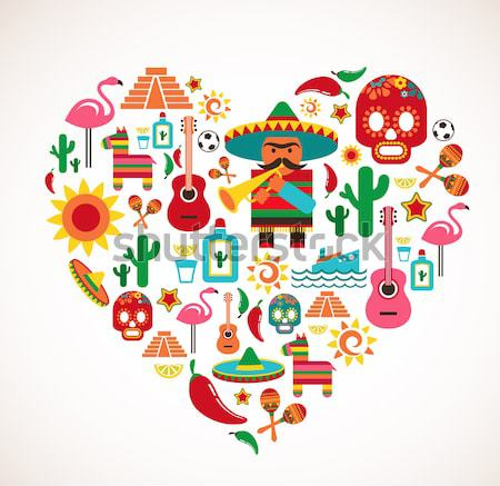 Stock photo: Spain Love - heart with set of vector icons