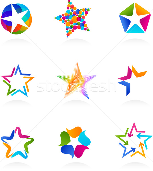 Stockfoto: Collectie · star · iconen · vector · ingesteld · abstract