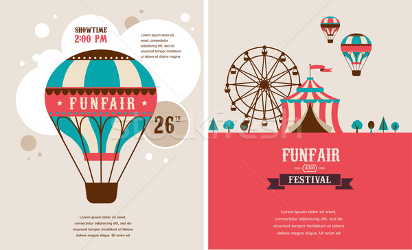 Stock photo: vintage poster with carnival, fun fair, circus vector background