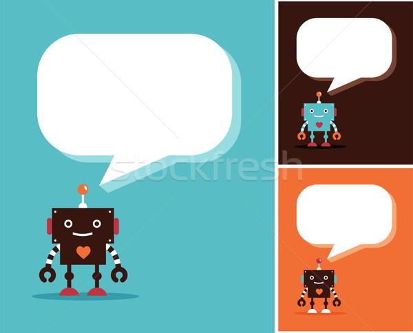 Robot aranyos ikonok betűk szövegbuborékok tudomány Stock fotó © marish