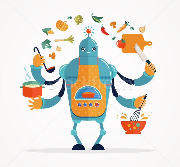 Multitasking robot chef koken werken Stockfoto © marish