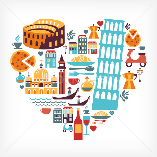 Stock photo: Italy love - heart shape with vector icons