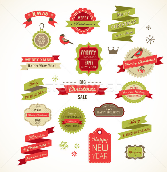 Christmas vintage labels, elements and illustrations Stock photo © marish