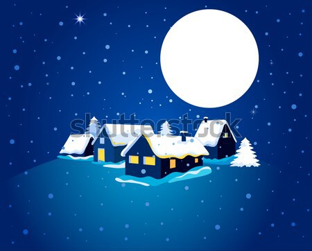 Christmas card with night town and snow Stock photo © marish