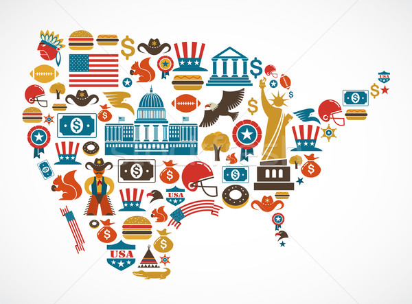 America map with many vector icons Stock photo © marish