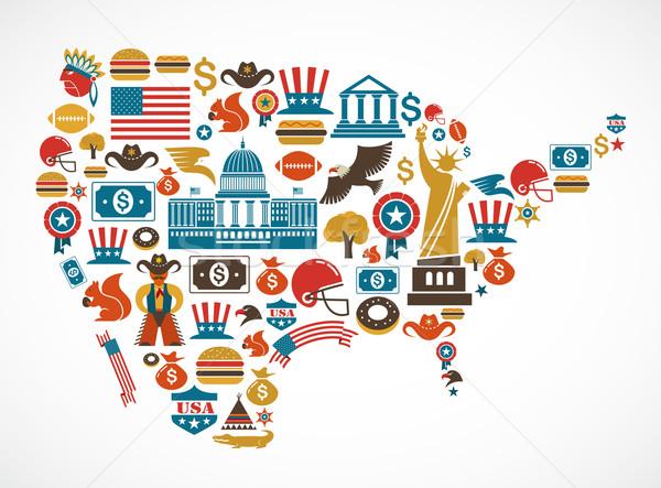Amerika kaart veel vector iconen liefde Stockfoto © marish