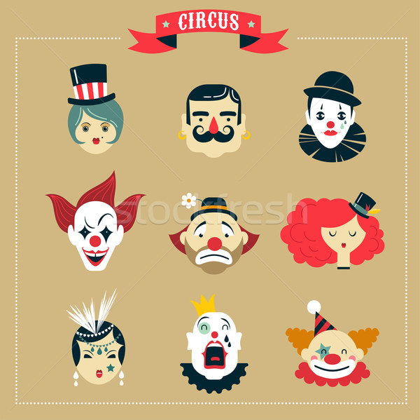 Vintage Circus, freak show icons and hipster characters Stock photo © marish