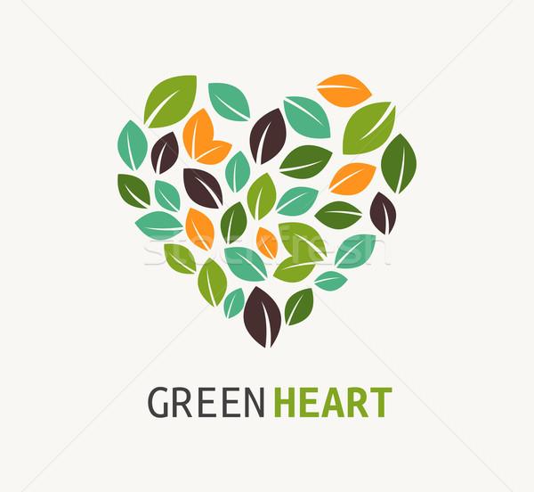 Green heart - vector icon Stock photo © marish