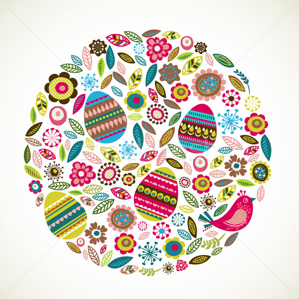 Easter greeting card with flowers Stock photo © marish