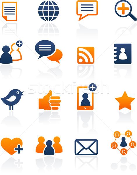 Social media netwerk iconen vector ingesteld collectie Stockfoto © marish