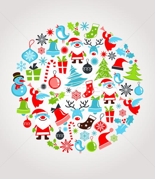 Noel ayarlamak simgeler retro desen vektör çocuklar Stok fotoğraf © marish
