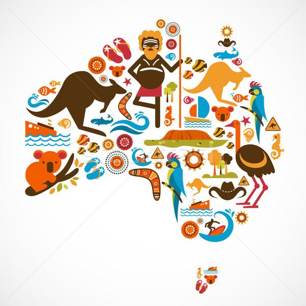 Australia Pokaż wektora ikona elementy niebieski Zdjęcia stock © marish