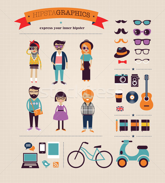 Hipster info graphic concept background with icons Stock photo © marish