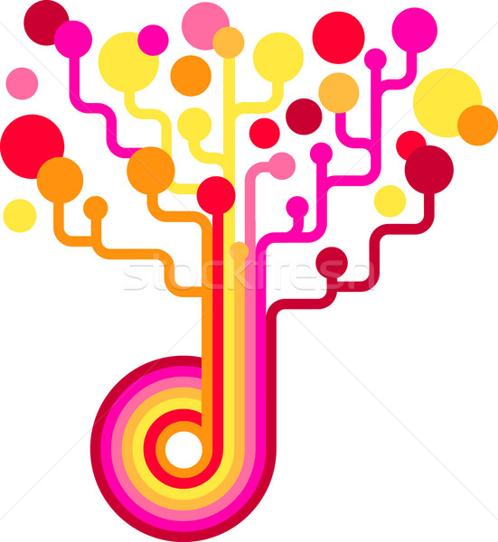 Colored vector tree - technology backgound Stock photo © marish
