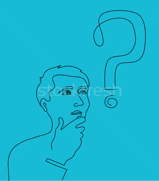 Thinking man with a question mark Stock photo © marish