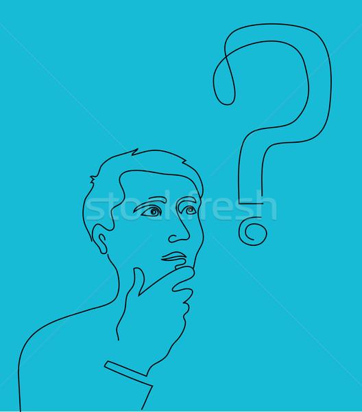 Myślenia człowiek znak zapytania line sztuki pracy Zdjęcia stock © marish