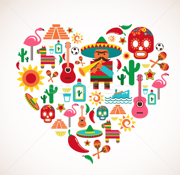Stock photo: Mexico love - heart with set of vector icons