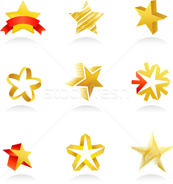 collection of gold star icons, vector Stock photo © marish