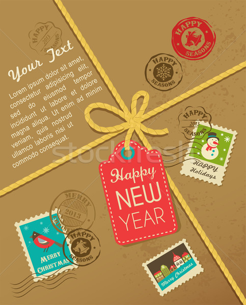 Christmas gift with vintage postage stamps Stock photo © marish