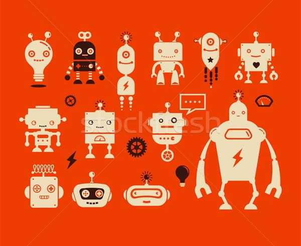 Robot aranyos ikonok betűk fut tudomány Stock fotó © marish