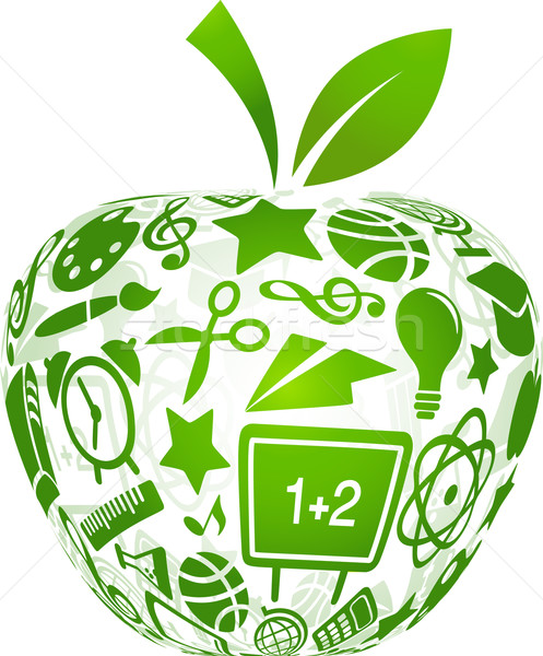 back to school - apple with education icons Stock photo © marish