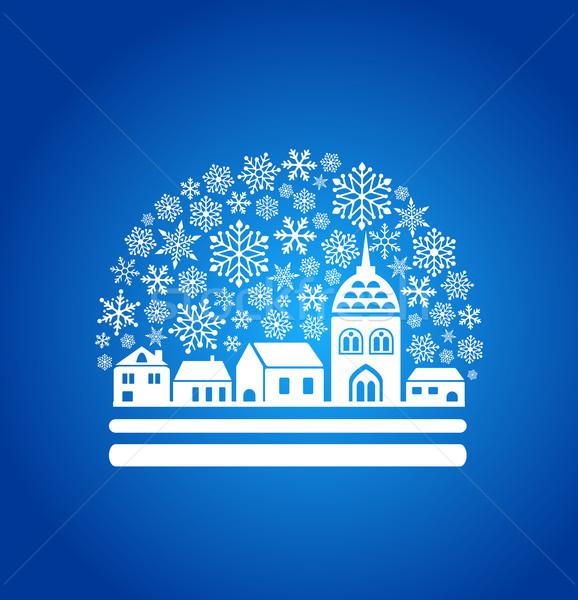 Stockfoto: Sneeuw · wereldbol · stad · sneeuwvlokken · huis · stad